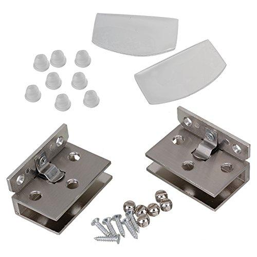 41%2Bd7I1JmBL - BQLZR plata tono acero inoxidable Gabinete de cristal puerta bisagra de metal cromado que se ajusta a de pared para 10 mm Espesor puerta 2 unidades