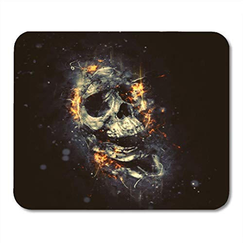 Gaming Mauspad Scary Skull in Flames Horror Halloween Bones Fire Ancient Cemetery 11.8