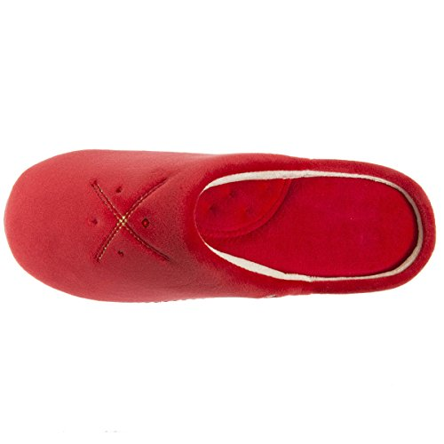 mules Femme et Chaussons Isotoner Rouge broderies strass femme 5wfxWZqa