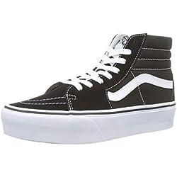 Vans Mujer Negro/True Blanco SK8-Hi Platform Zapatillas-UK 5