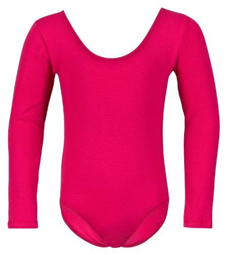 tanzmuster Kinder Langarm Ballettanzug Lilly mit rundem Hals- und Rückenausschnitt. Basic Ballett Trikot in pink, Größe:92/98