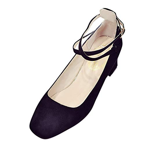 MORETIME Stivaletti Bassi,Womens Flock Cinturino alla Caviglia Spessore Tacco Pompe Una Parola Fibbia Partito Quadrato Scarpe