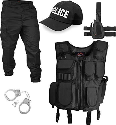 Swat Polizei Kostüm - normani SWAT/Security/Police Kostüm bestehend aus Weste, Hose, Pistolenholster, Cap und Handschellen [S-5XL] Farbe Police Größe L