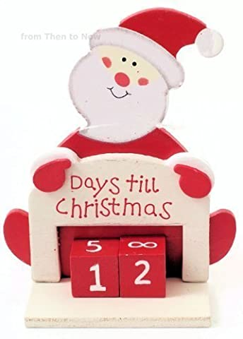 Days Til Until Christmas Advent Xmas Wooden Santa Countdown Calendar