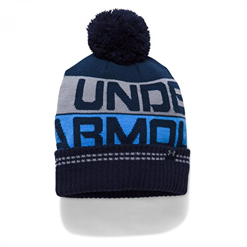 Under Armour Herren Retro Pom Beanie 2.0 Mütze, Midnight Navy/Mako Blue/Steel, OSFA