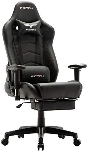 Ficmax Racing Silla de Escritorio Ordenador de Oficina ergonómica con Masaje Soporte Lumbar y reposapiés Ajustable, Color Negro