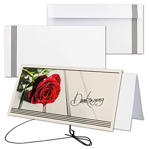 25x Trauerkarte mit Umschlag Set Danksagung - Rose - inklusive hochwertiger Box- DIN Lang Quer-Format - Danksagungskarten Trauerkarten nach Beerdigung - Trauer-Papiere by Gustav NEUSER