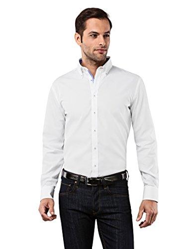 Vincenzo Boretti Herren-Hemd Button-Down Kragen Bügelfrei 100% Baumwolle Slim-Fit Tailliert Uni-Farben - Männer Lang-Arm Hemden für Anzug mit Krawatte Business Hochzeit Weiß 37/38