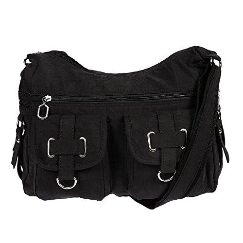 Christian Wippermann Damenhandtasche Schultertasche aus Canvas Schwarz Schwarz