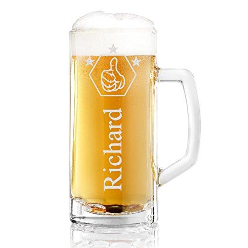 Bierkrug mit Gravur eines Namens – Bierseidel Motiv Daumen Hoch 0,3l