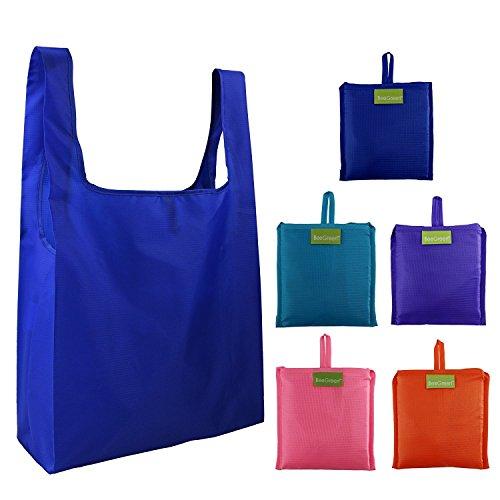BEEGREEN wiederverwendbar Lebensmittels AEG-, Lebensmittels faltbar in befestigt Tasche, Ripstop Polyester Wiederverwendbare Einkaufstaschen, waschbar, langlebig und leicht, Polyester, Royal Blue,Light Pink,Purple,Orange,Teal Blue, 15W*25L*6D (Schule Shirt Woven)