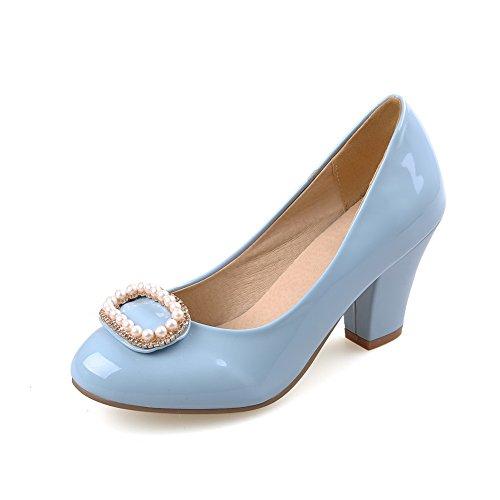 VogueZone009 Femme Mosaïque Pu Cuir à Talon Haut Fermeture D'Orteil Rond Tire Chaussures Légeres Bleu