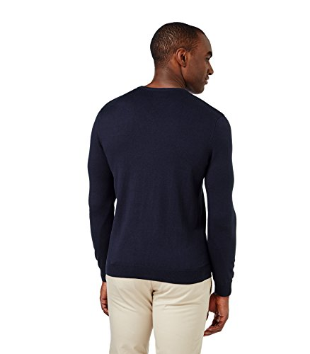 WoolOvers Pull à col V - Homme - Soie & coton Navy
