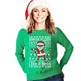 Ugly Christmas Santa Floss Like a Boss Weihnachtspullover Frauen Sweatshirt Medium Grün