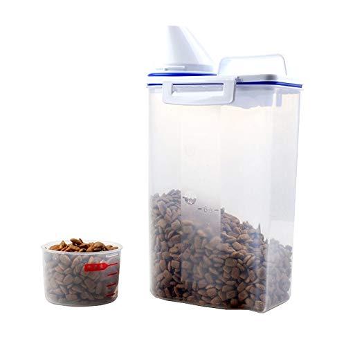 Lanbinxiang@ Einfache transparente Kornspeicherfaß-Haustierfutter-Aufbewahrungsbox mit Zählbecher Multifunktionsfunktion Dekoration