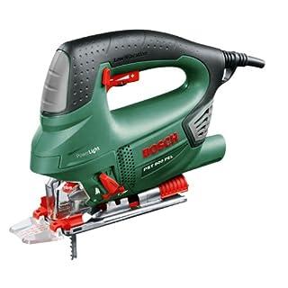 Bosch Stichsäge PST 900 PEL (620 Watt, Sägeblatt, Spanreißschutz, CutControl, Transparenter Abdeckschutz, Sägeblattdepot, Koffer) schwarz/ grün/ rot