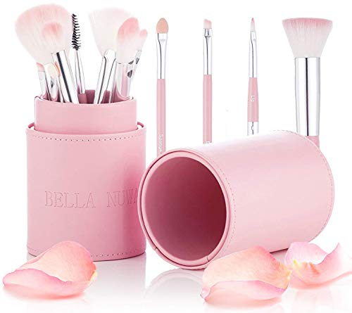 Make-up Pinsel Set mit Fall von Bella Nuwa Kosmetik - Designer Rosa Make-up Pinsel Zubehör Set Holder Topf fungiert als Make-up Pinsel Storage Organizer Kit und Travel Case - Dieses Kosmetik-Set enthält Pro Make-up Artist Pinsel einschließlich einer schönen rosa Fall - perfektes Geschenk - neu 2017