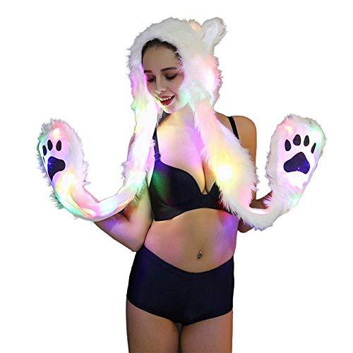 About Beauty Frauen 3In1 Pelz Faux Tierische LED-Haube Hauben Geist Pfoten Ohren Mittens Handschuhe Reißverschlusstasche Halloween Weihnachten LED-Kostüm Mitten (Ohren Tierische Kostüm)