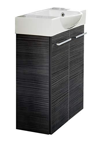 FACKELMANN LINO Gäste WC Badmöbel Set 2 Teile/Keramik Waschbecken/Waschbeckenunterschrank mit 2 Türen/hochwertiger Badschrank mit Soft-Close/Korpus: Schwarz/Front: Schwarz/Breite: 52 cm