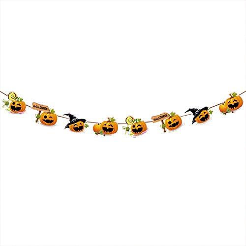 uesae Halloween Banner Wimpelkette Pennant Aufhängen Flaggen Punkin Lampe Papier Halloween Dekorationen Maske Kostüm Party Cosplay Karneval Zubehör Make Up Thema Party 3m 1Stück