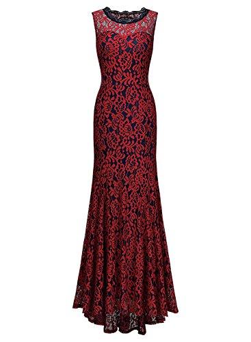 Miusol Damen Kleid Elegant Spitzen Langes Brautjungfer Rueckenfrei Aemerlos Fishtail Cocktailkleid Rot Gr.M -