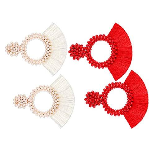 Opplei Quaste Ohrringe böhmische handgemachte Perle Quaste Gelb Aussage für Frauen Mädchen -