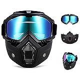 QYLT Casco da Moto con Occhiali, Maschera Rimovibile, Moto Maschera Staccabili Occhiali e Bocca Filtro per Caschi Vintage (Tre Colori opzionali)