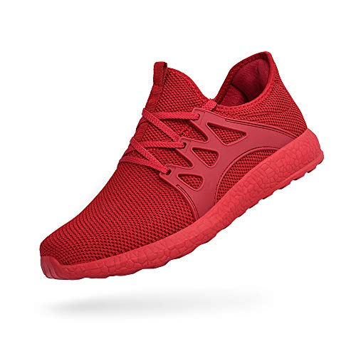 FiBiSonic Damen Laufschuhe Ultraleichte Mesh-Trainer Turnschuh Atmungsaktive Freizeitschuhe Sportschuhe Sneaker Rot 37 Mesh-trainer