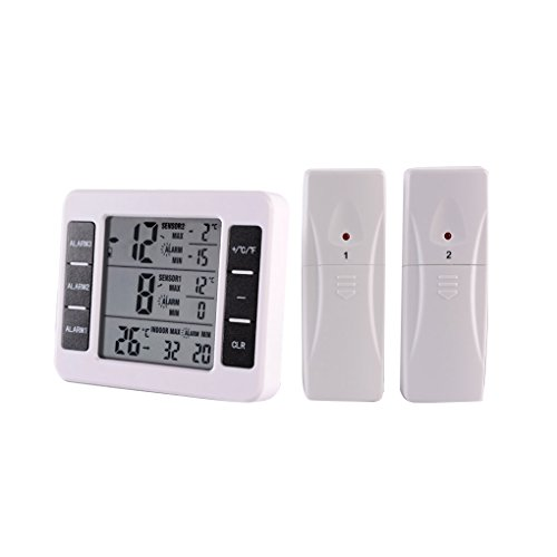 Coconut M Digital LCD Thermometer, Indoor und Outdoor Wireless Thermometer Sensor, Temperatur Alarm, mit Outdoor-Sensor, für Hotel Kühlschrank, Haus und Büro