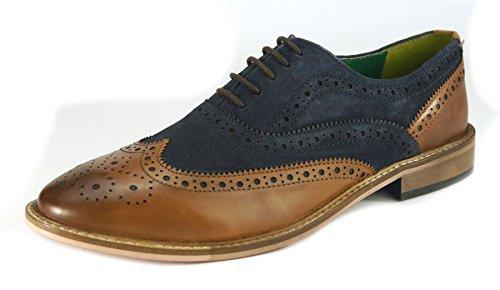 Frank James , Chaussures de ville à lacets pour homme Tan / Navy