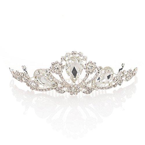 Tiara Silber Hochzeit Haarband Kristall Braut Strassbesatz Stirnband Schmuck (Tiara Kämme)