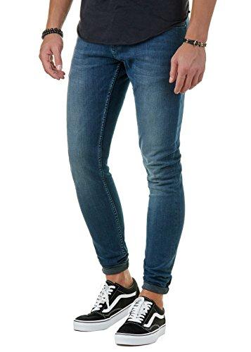 EightyFive Herren Premium Denim Jeans-Hose Slim Fit Basic Blau EFJ130, Farbe:Blau, Hosengröße:W29 L32 (Premium-basic-hose)