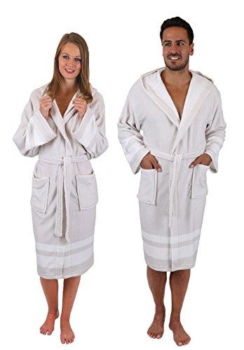 Betz Albornoz Malta con Capucha para Hombre y Mujer de Color Blanco-Beige Tamaño L/XL