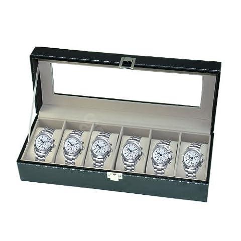 Boîte à montres en cuir avec couvercle en verre Noir