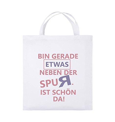 Comedy Bags - Bin gerade etwas neben der Spur. Ist schön da! - Jutebeutel - kurze Henkel - 38x42cm - Farbe: Schwarz / Weiss-Neongrün Weiss / Rosa-Violet