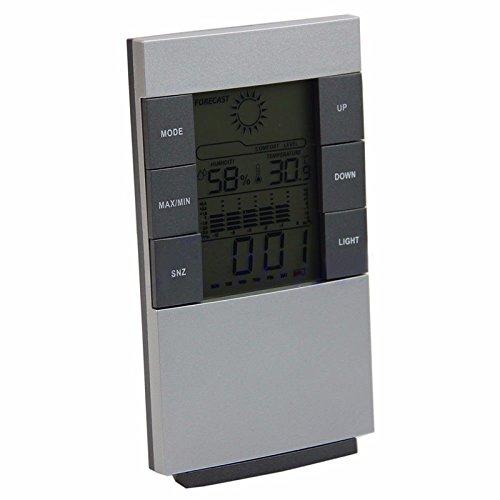 Lecimo Digitale Wanduhr mit Alarm, Sekundenzähler, Schlummerkalender Datum Tag InnentemperaturFeuchtigkeit, Große Anzeige - Wetter Wanduhr
