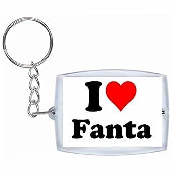 Porte-clés I Love Fanta en Blanc  grande idée de cadeau pour toute occasion!