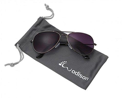 WODISON Classic Aviator Sonnenbrille Reflektierende Metall Rahmen für Kinder Kinder Unisex (Gun Frame Gradual Smoke Objektiv)