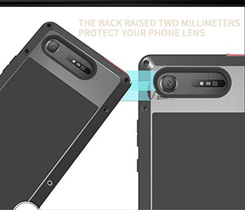 Sony Xperia XZ1 (5.2 inch) stoßfest Fall, Metall Fall, Love Mei Armor Tank stoßfest staubdicht Heavy Duty Aluminium Metall Case Hard Cover für Sony Xperia XZ1 mit Tempered Glas (Silber) Gelb