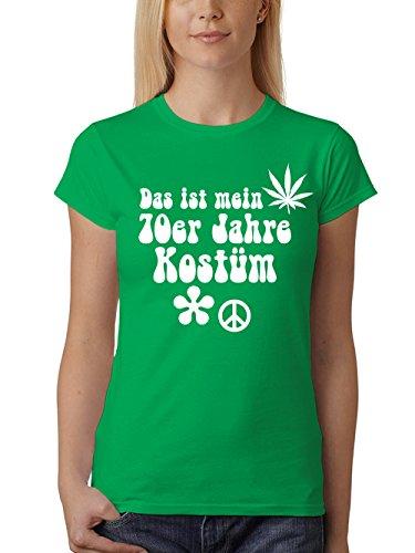 clothinx Damen T-Shirt Fit Karneval Das ist Mein 70er Jahre Kostüm Grün Größe - Power Girl Original Kostüm