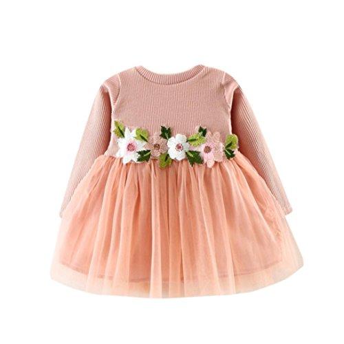 Nettes Kleinkind Baby Blumen Ballettröckchen langes Hülsen Prinzessin Kleid (0-6M, Rosa)