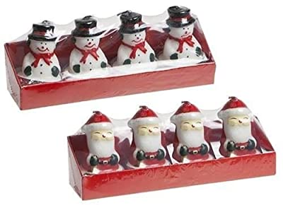 Set of 4 x Snowman & 4 x Santa Shaped Tealight Candles Xmas Christmas Home Ornament Decoration Gift Decor by PMS
