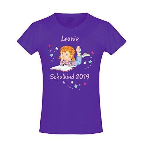 Mein Zwergenland T-Shirt tailliert Mädchen Schulanfang Schulkind 2019 Mädchen mit Schulbuch Lila, Gr. 10 Jahre (130-140)