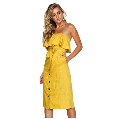 ALAIX Damen Elegantes Kleid Ärmeligloses Figurbetontes Carmen Baumwolle kleider für Damen Gelb L