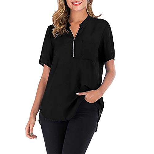 Yvelands Damen Plus T-Shirt Größen-Reine Farben-Lange Hülsen-Reißverschluss-Taschen-einfaches Blusen-Spitzenhemd (Einfache Office Halloween-kostüme)