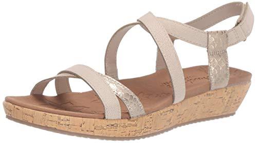 Skechers Women's Brie-Desert Dance-Multi-Strap Slingback Sandal Flat Leather Multi-strap Sandalen