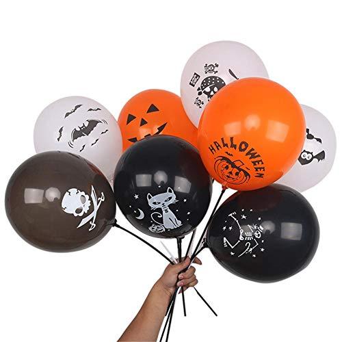 (Nie-hu 100 stücke Halloween Kürbis Katze Dekorative Luftballons Dicken Latex Ballons Festival Party Dekoration Requisiten Farbe Zeichnung Zufällig)