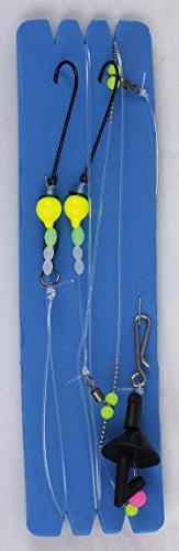 Nick and Ben Angler-Ausrüstung Weitwurf-Vorfach mit Doppelhaken Gelb ca 90cm Länge 0,75mm Schnur