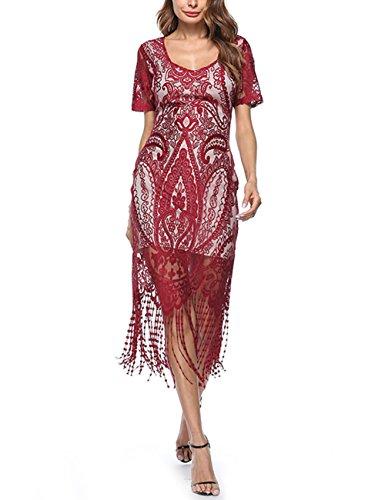 (1920er Gatsby Pailletten verziert Quasten Saum Flapper Kleid)