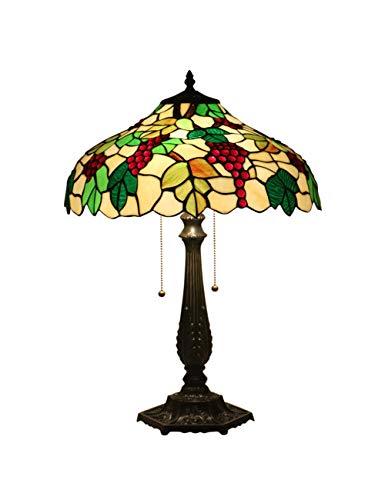 ZYear Lámpara de Mesa Vintage, UVA Verde, lámpara de Escritorio LED Pastoral con vitrales, Cortina, Interruptor de Cremallera para Restaurante, Bar, Estudio de 16 cm.